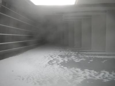 Dust deposition test inside flow model
